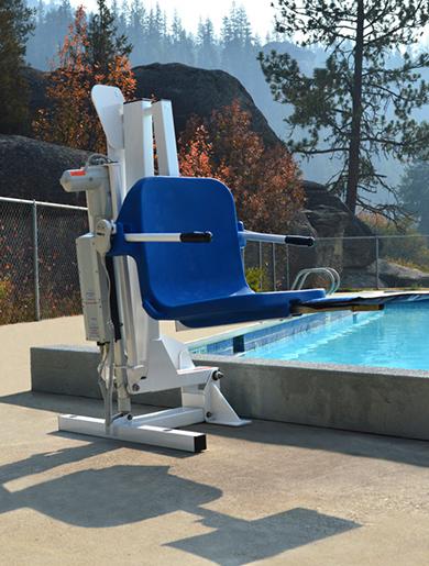 ambassador life shown at the edge of pool. Next to a pool wall.