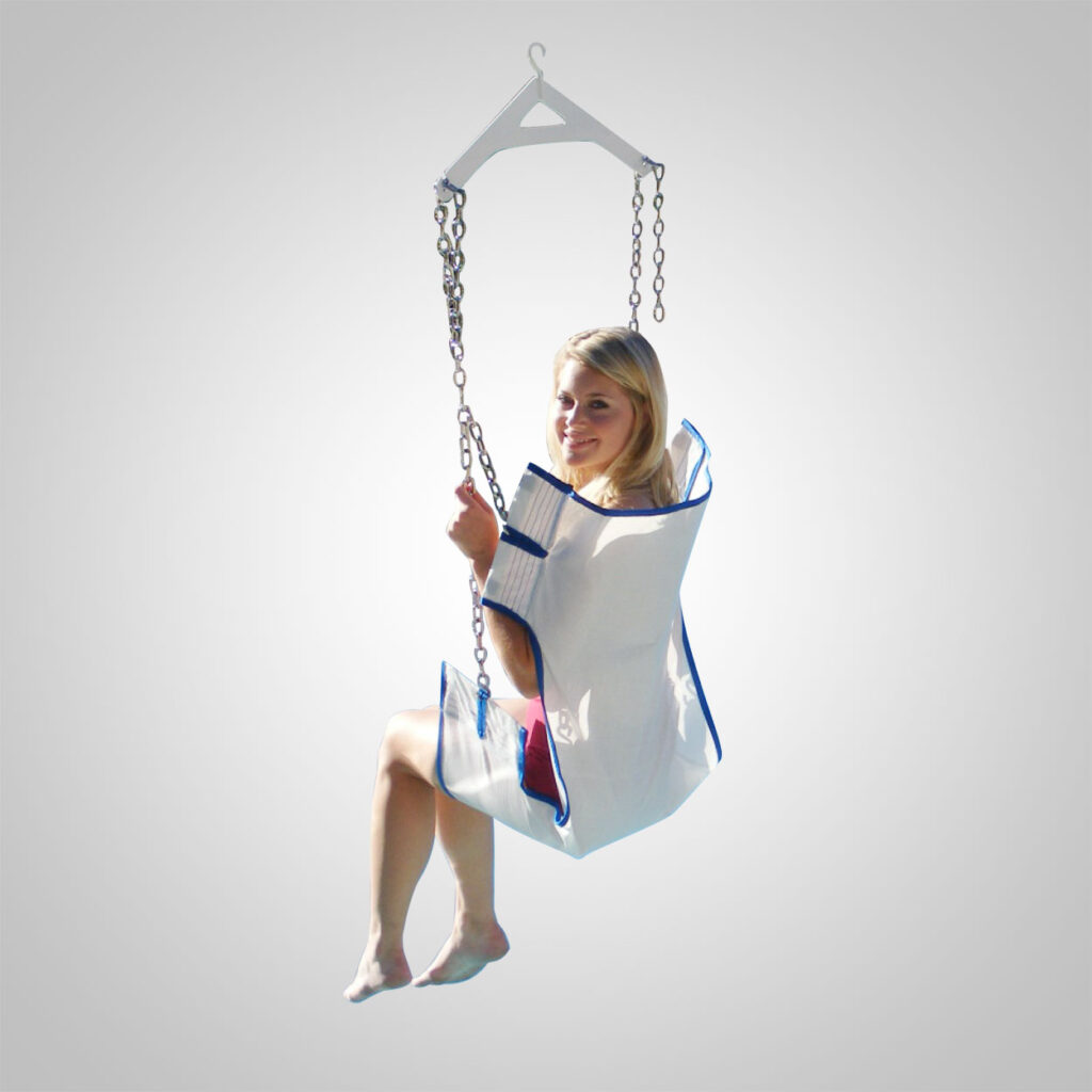 sling seat option, shown in use with plain white background