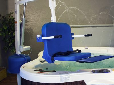 spa ultra lift, showing above hot tub, with no user in seat.