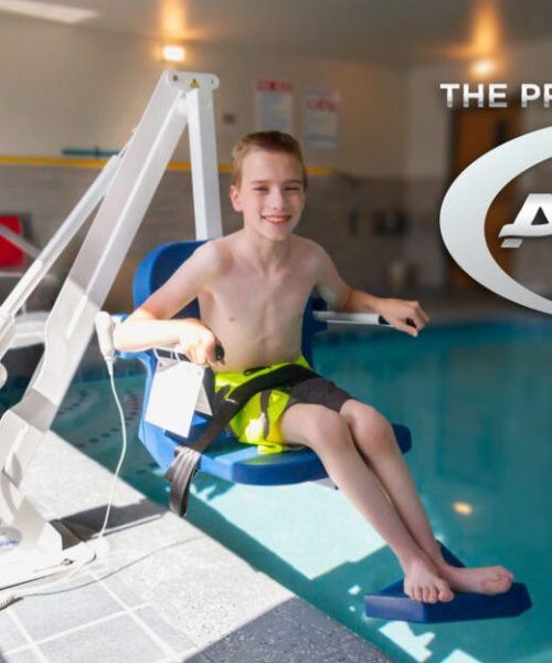 admiral lift, shown over the edge of pool with user in situ.