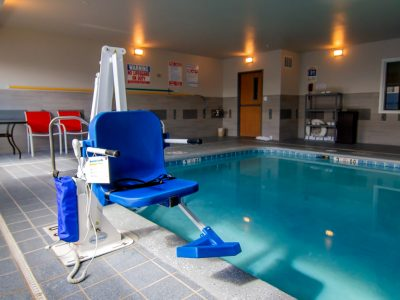 demonstration of the Admiral Pool Lift sitting poolside