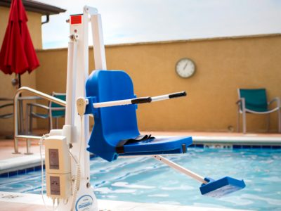 ranger 2 lift anchored at outdoor pool