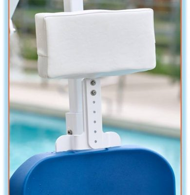 Head rest attachment for pool lift chair, close up shown attached to pool lift chair.