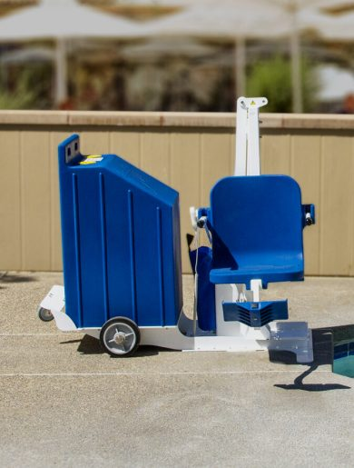portable pro lift sitting poolside at outdoor pool