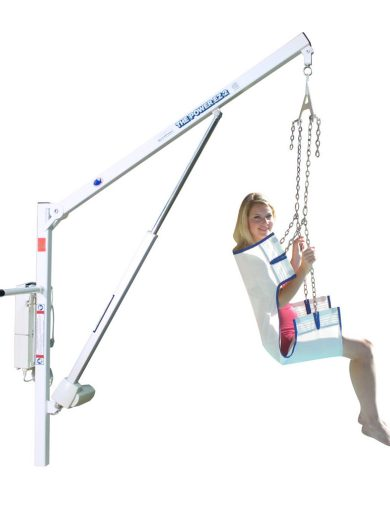 Power EZ 2 pool lift, white background but showing a user sitting raised in sling seat.