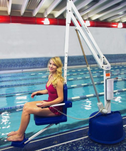 revolution pool lift, demonstrated with user in situ